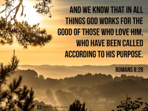 Romans 8:28 And we know that for those who love God all things work together for good, for those who are called according to his purpose.